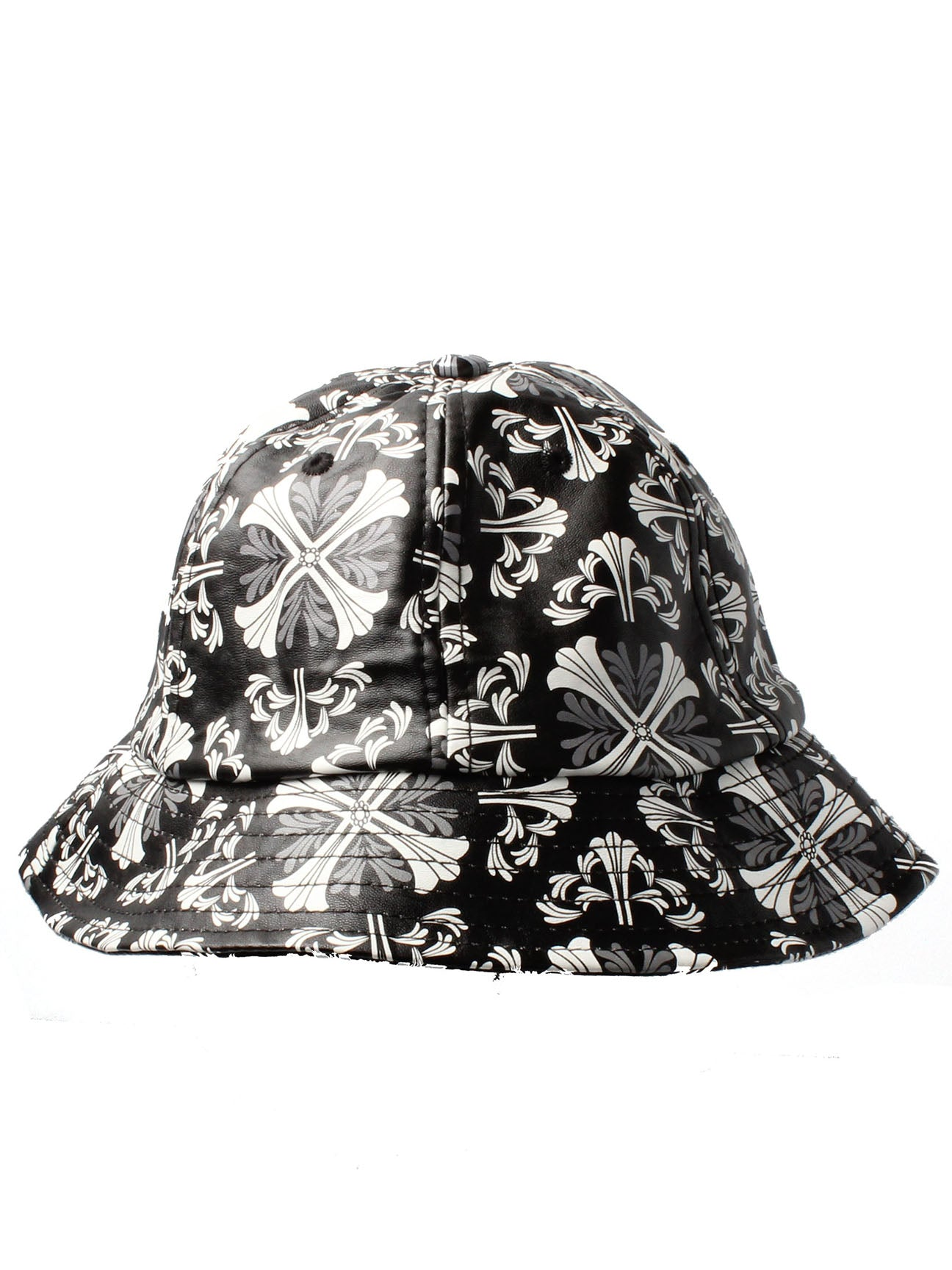Black and White PU Bucket Hat with Floral Crosses