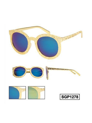 Gold Frame Retro Sunglasses with  Revo Lenses