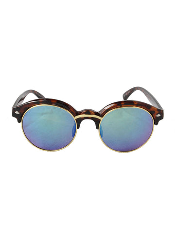 Tortoise Shell Round Sunglasses with Blue Revo Lenses
