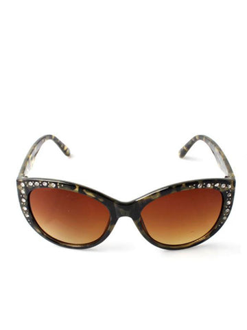 Cat Eye Retro Style Graded Lenses With Diamante Detail Sunglasses