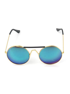 Gold Frame Round Sunglasses with Green Mirrored Lenses