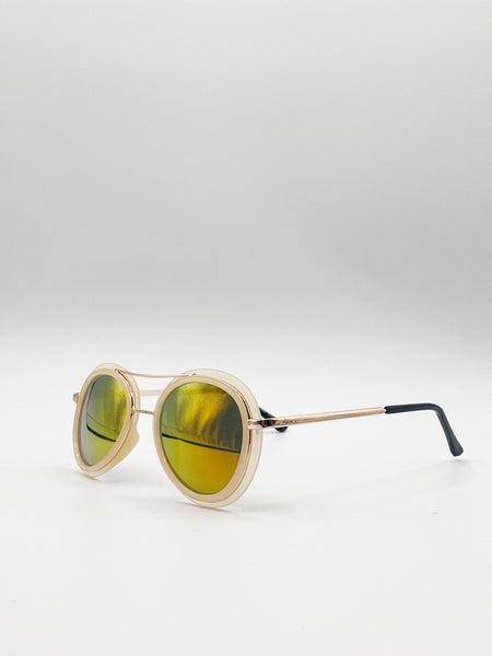 Nude Aviator Sunglasses With High Brow Detail and Coloured Revo Lenses