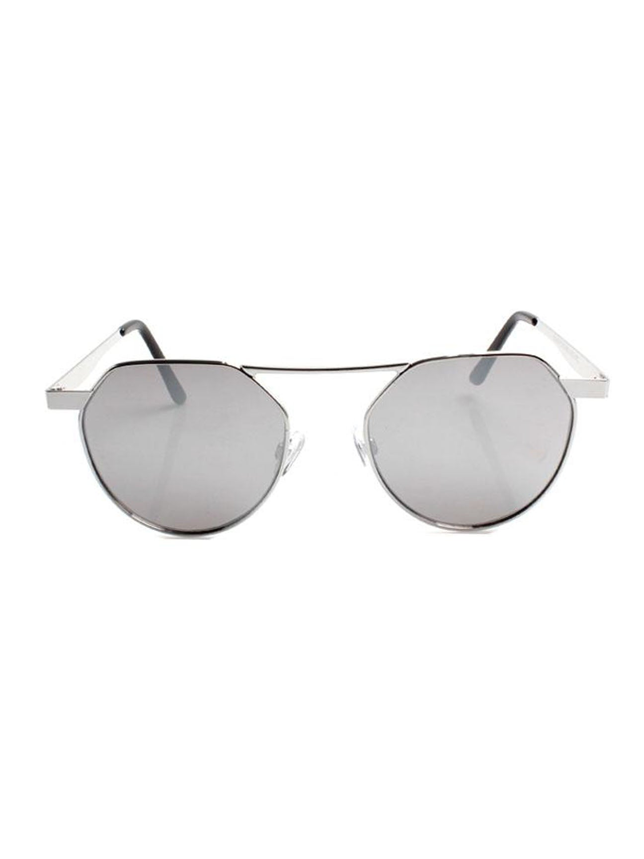 Aviator Flat Top Sunglasses With Mirrored Lenses