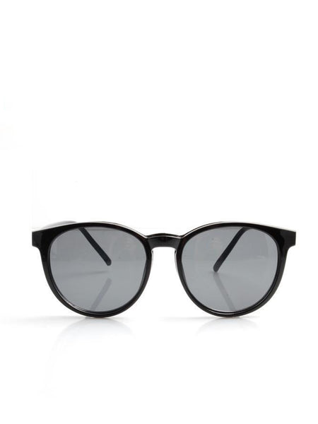 Black Rounded Wayfarer Clip On Sunglasses