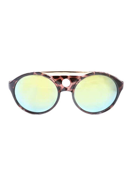 Tortoise Shell Round Frame Sunglasses with Mirrored Lenses and Gold Brow Bar