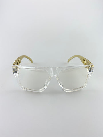 Oversized Straight Edge Clear Lenses and Gold Chain Effect Thick Style Sunglasses