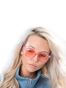 Clear Pink Wayfarer Sunglasses with clear pink lenses