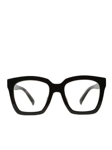 Black Oversized Square Framed Clear Lenses Glasses