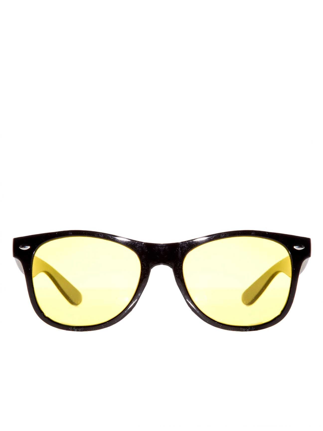 Black Wayfarer Sunglasses with Yellow Lenses