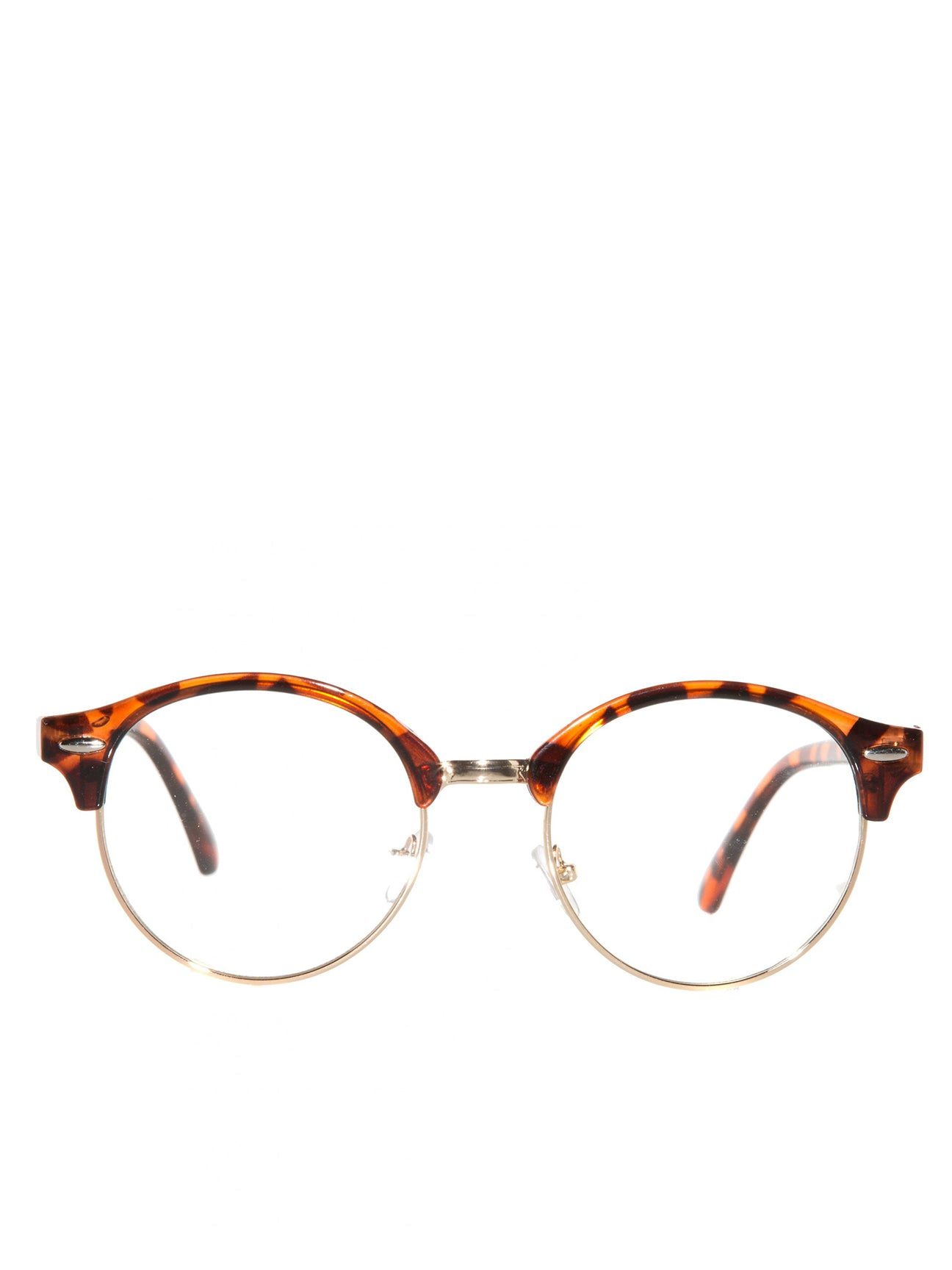 Round Tortoise Shell Half Frame Sunglasses With Clear Lenses