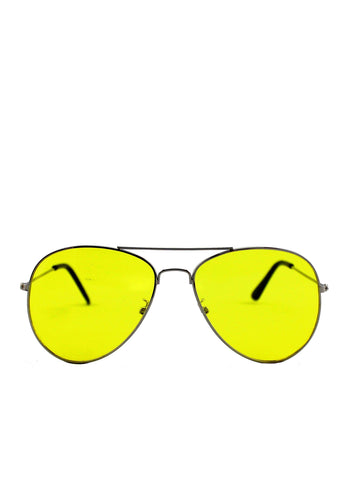 Silver Frame Aviators with Yellow Lens