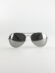 Classic Pilot Aviator Sunglasses with Mirrored Silver Lense