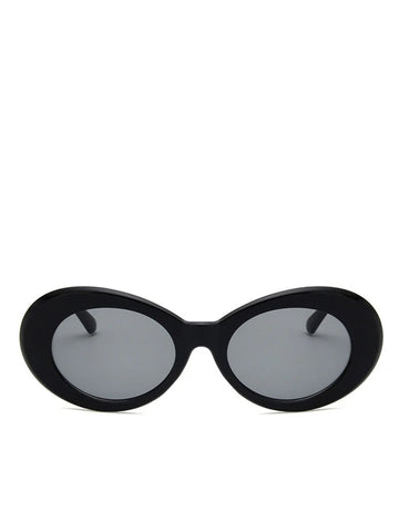 Round Plastic Kurt Cobain Style Black Sunglasses with Grey lens