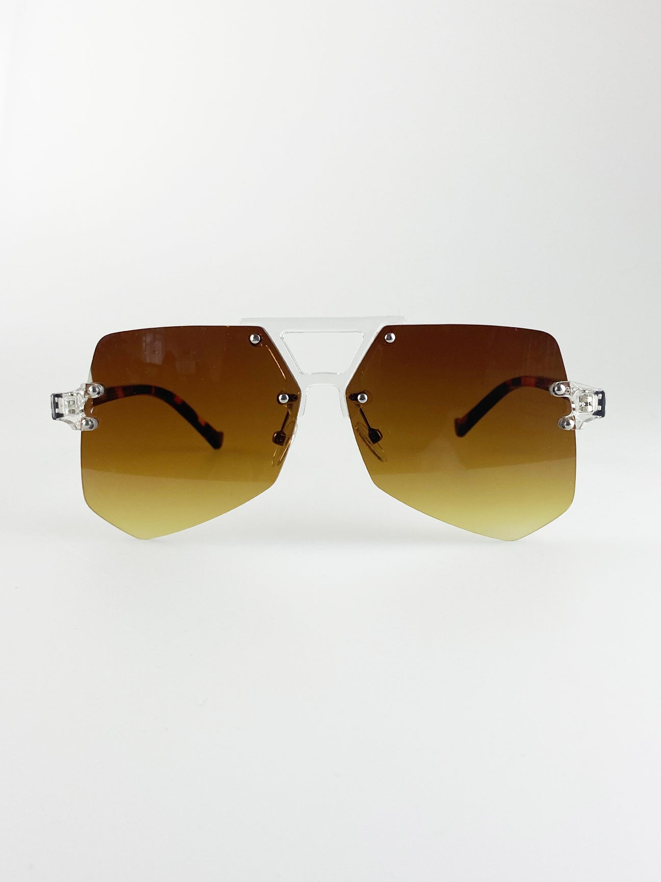 Brown Exaggerated Sunglasses With Clear And Tortoiseshell Frame And Brown Lenses