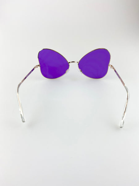 Butterfly Shape Sunglasses With Gold Frame and Purple Lenses