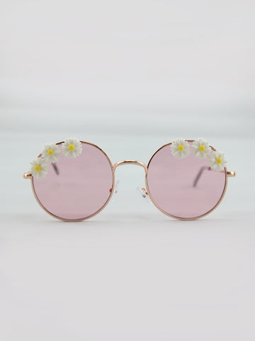 DAISY EMBELLISHED SUNGLASSES WITH PINK LENSES