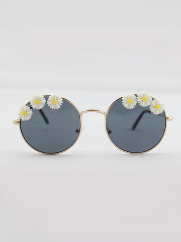 DAISY EMBELLISHED SUNGLASSES WITH BLACK LENSES