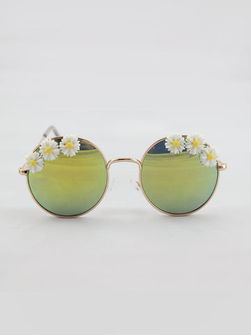 DAISY EMBELLISHED SUNGLASSES WITH GOLD REVO LENSES