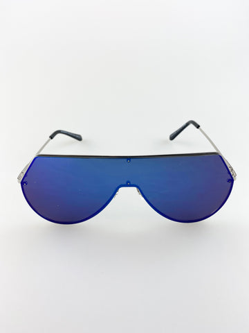 Frameless Visor Sunglasses With Blue Lenses