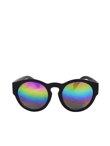 Thick Frame Round Sunglasses with Rainbow Revo Lens