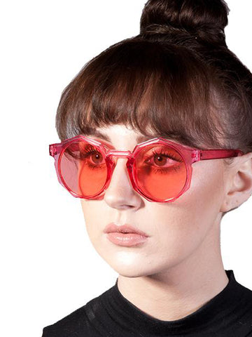 Red plastic frame Hexagon Sunglasses