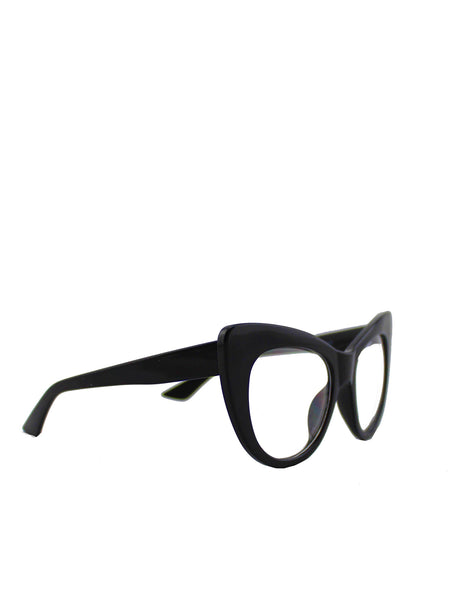 Exaggerated Cat Eye Sunglasses With Black Frame and Clear Lenses