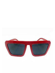Red Square Frame Sunglasses With Black Lenses