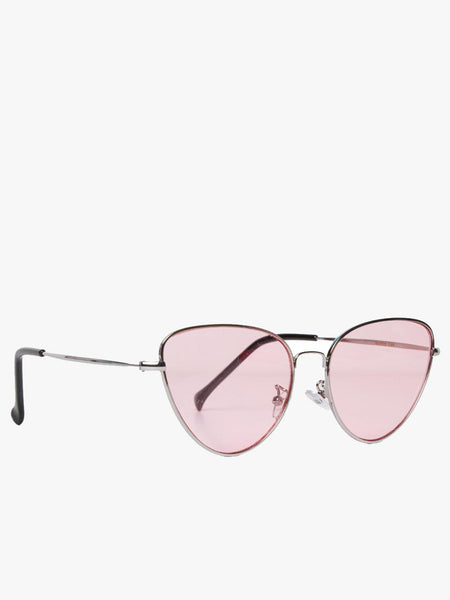Angular Cat Eye Sunglasses With Silver Frame and Pink Lenses