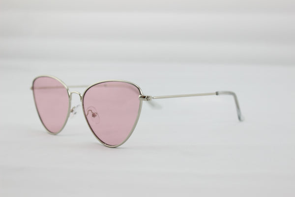 Angular Cat Eye Sunglasses With Gold Frame and Pink Lense