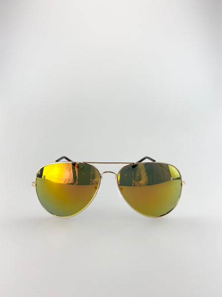 Silver Frame Aviators with Orange and Red Revo Lense