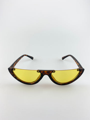 Small Size Tortoise Shell Half Frame with Yellow  Lense Cat Eye Sunglasses