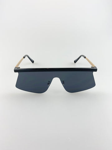 Straight Bridged Frameless visor sunglasses with black lenses
