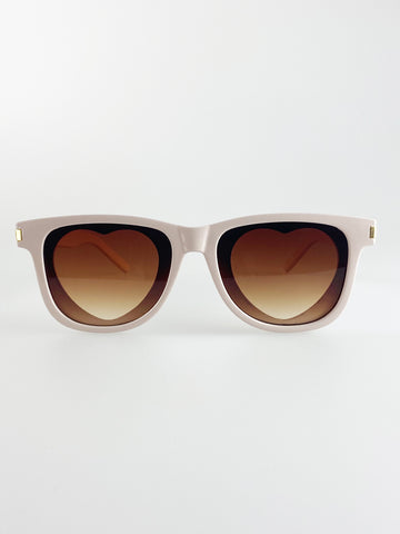 Rectangle Sunglasses with heart lenses