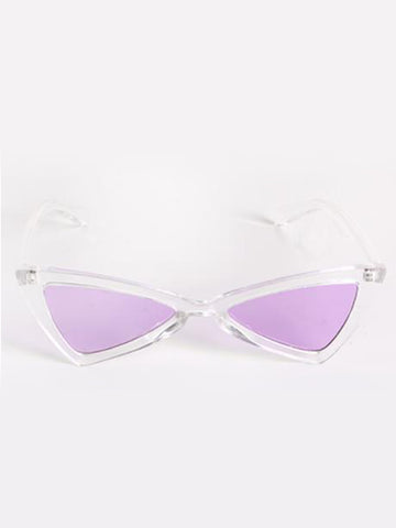 Clear Triangular Sunglasses with Purple Lenses