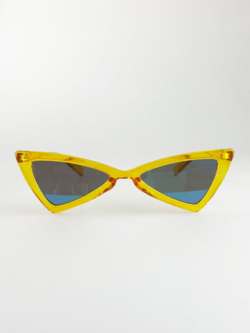 Yellow Triangular Sunglasses with Green Revo Lense
