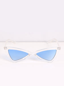 Clear Triangular Sunglasses with Blue Lenses