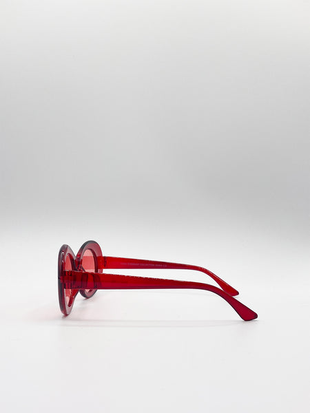 Glitter Lens Sunglasses with Red Frame