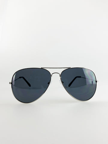 Classic Aviator Glasses Black Metal Frame with Black Lenses