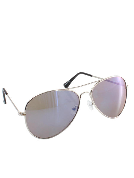 Classic Blue Silver Tint Mirrored Aviator Sunglasses