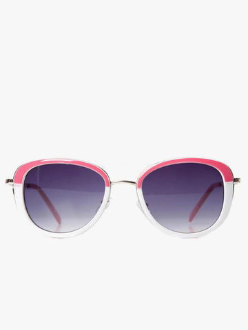 Pink and White Frame Aviator Sunglasses