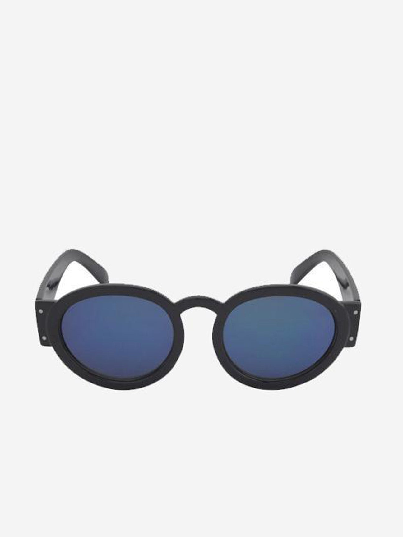 Black Frame Round Sunglasses with Blue Tinted Lens