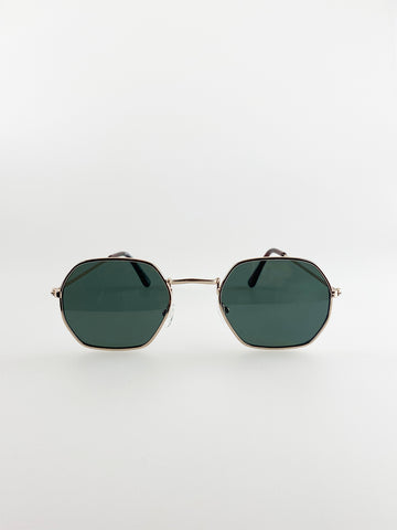 Hexagon Sunglasses With Gold Frame And Green Lenses