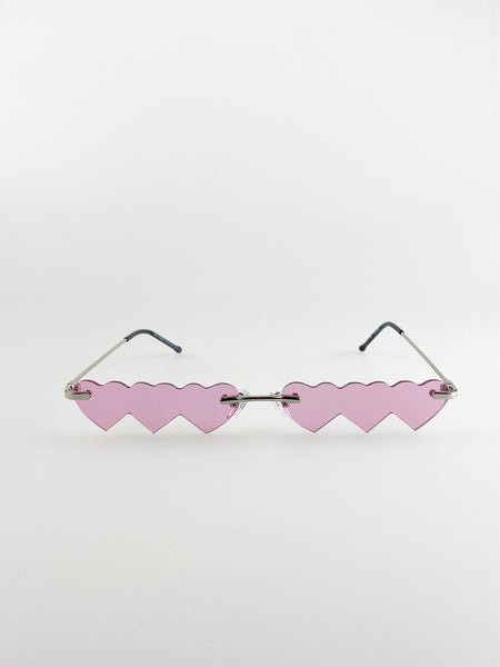 Heart Shaped Lenses Sunglasses With Gold Frame And Pink Lenses