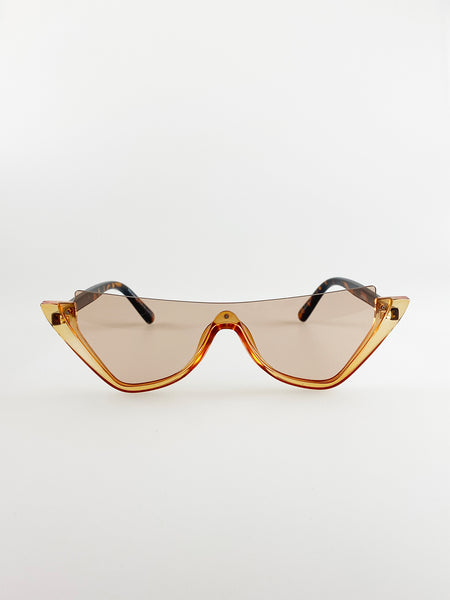 Rimless Cateye Sunglasses With Tortoise Shell Temples And Brown Lenses