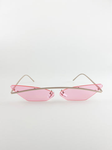 Rimless Cateye Sunglasses With Gold Frame And Pink Lenses