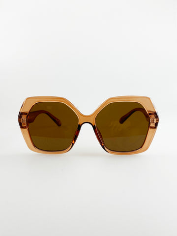 Oversized Hexagon Sunglasses In Light Brown