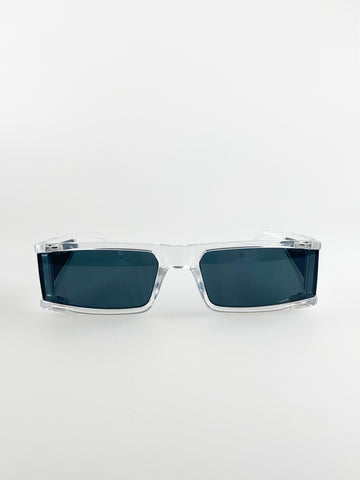 Rectangle Sunglasses With Clear Frame And Black Lenses