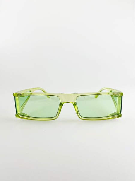 Rectangle Sunglasses In Lime Green