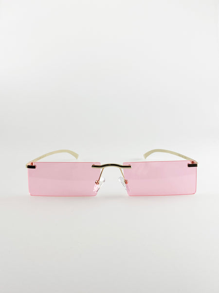 Rimless Rectangle Sunglasses In Pink