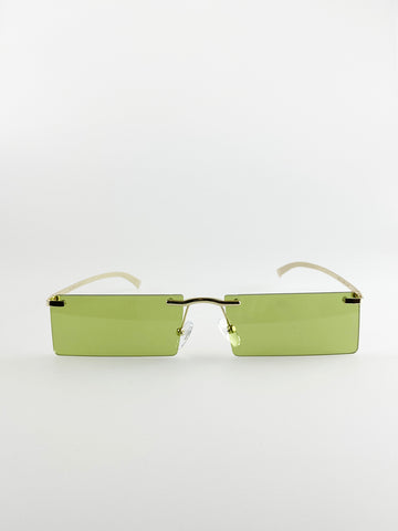 Rimless Rectangle Sunglasses In Lime Green